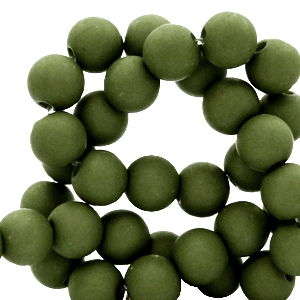 Acryl kralen 6mm dusty olive, 10 gram