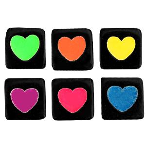 Letterkralen acryl vierkant rainbow, 6 stuks