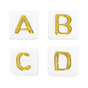 Letterkralen acryl vierkant wit goud, set 400 stuks