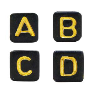 Letterkralen acryl vierkant black gold, set 400 stuks