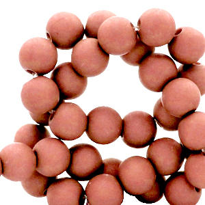 Acryl kralen 6mm matt terracotta, 10 gram