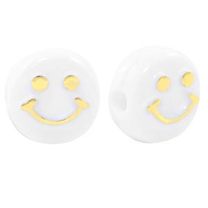Smiley kralen acryl 10mm goud, per 5 stuks