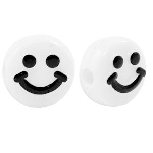 Smiley kralen acryl 10mm, per 5 stuks