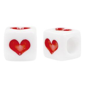 Letterkralen acryl vierkant hartje rood, 6 stuks