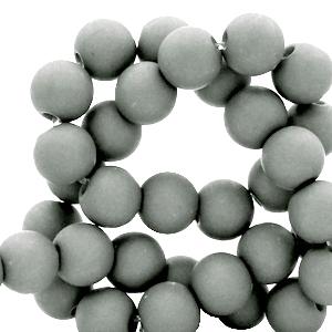 Acryl kralen 8mm matt light grey, per 10 gram