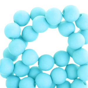 Acryl kralen 8mm matt vivid sky blue, per 10 gram