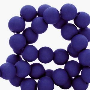 Acryl kralen 8mm matt dark blue, per 10 gram