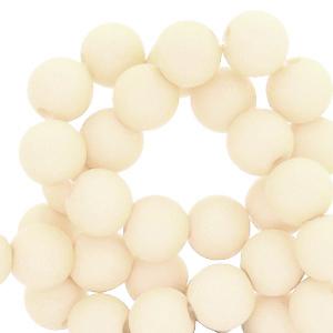 Acryl kralen 8mm matt papyrus white beige, per 10 gram
