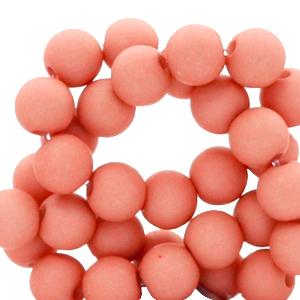 Acryl kralen 8mm matt coral red, per 10 gram