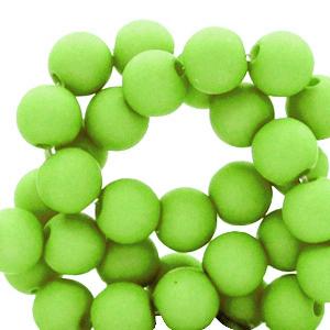 Acryl kralen 6mm matt spring green, per 10 gram