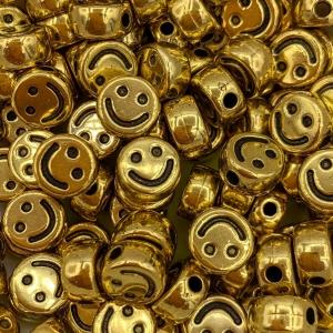 Smiley kralen acryl goud, per 5 stuks