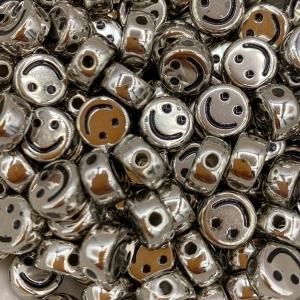 Smiley kralen acryl antiek zilver, per 5 stuks