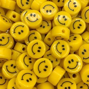 Smiley kralen acryl 10mm, per stuk