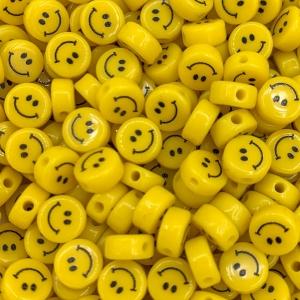 Smiley kralen acryl 8mm, per stuk