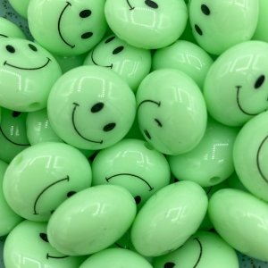 Smiley kralen acryl 18mm neon groen, per stuk