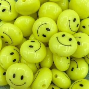 Smiley kralen acryl 18mm neon geel, per stuk