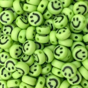 Smiley kralen acryl 7mm neon green, per 5 stuks