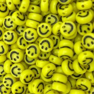 Smiley kralen acryl 7mm yellow, per 5 stuks