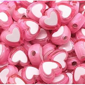 Acryl kralen hartje pink, per 5 stuks