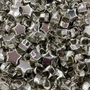 Acryl kralen ster antiek zilver, per 5 stuks
