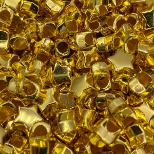 Acryl kralen ster goud, per 5 stuks