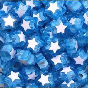Acryl kralen ster blue, per 5 stuks