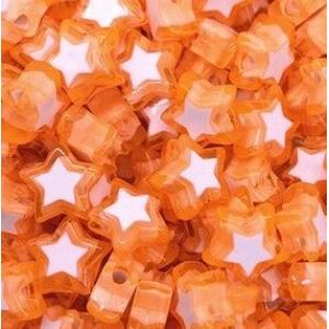 Acryl kralen ster orange, per 5 stuks
