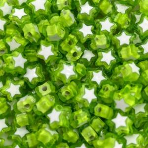 Acryl kralen ster light green, per 5 stuks