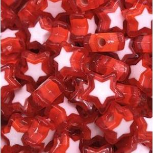 Acryl kralen ster red, per 5 stuks