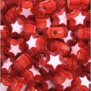 Acryl kralen hartje red, per 5 stuks