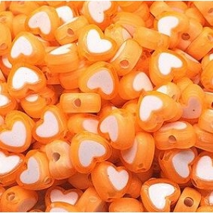 Acryl kralen hartje orange, per 5 stuks