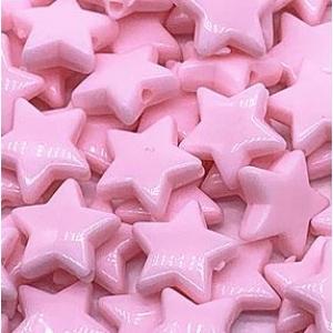 Acryl kralen ster light pink, per 5 stuks