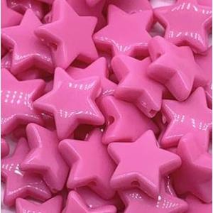 Acryl kralen ster dark pink, per 5 stuks