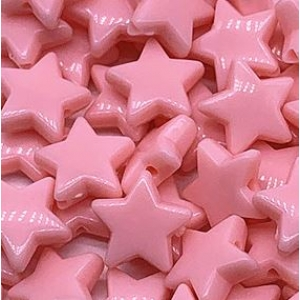 Acryl kralen ster salmon pink, per 5 stuks