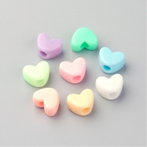 Acryl kralen hartjes, per 10 stuks