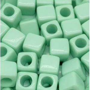 Acryl kralen vierkant mint green, per 5 stuks