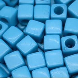 Acryl kralen vierkant blue, per 5 stuks