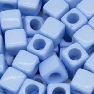 Acryl kralen vierkant sky blue, per 5 stuks