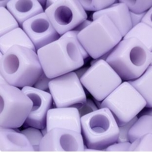 Acryl kralen vierkant lavender, per 5 stuks