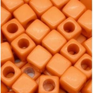 Acryl kralen vierkant orange, per 5 stuks