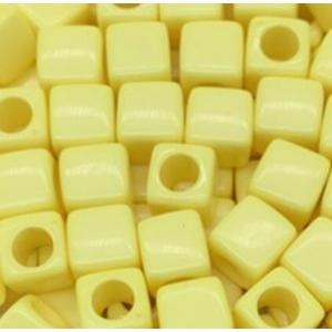Acryl kralen vierkant yellow, per 5 stuks