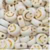 Smiley kralen acryl 7mm gold, per 5 stuks
