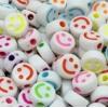 Smiley kralen acryl 7mm multi colour, per 5 stuks
