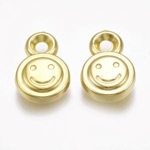 Acryl bedel smiley goud, per 10 stuks