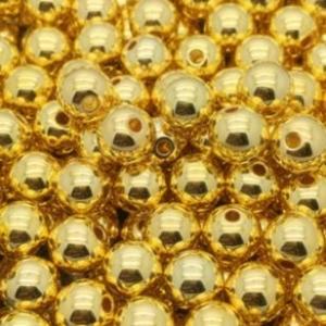 Acryl kralen 8mm goud, per 5 stuks