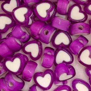 Acryl kralen hartje purple, per 5 stuks
