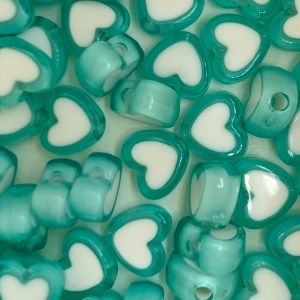 Acryl kralen hartje light blue, per 5 stuks