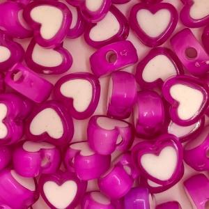 Acryl kralen hartje dark pink, per 5 stuks