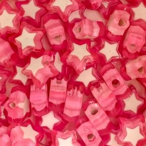 Acryl kralen ster pink, per 5 stuks