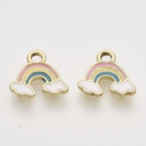 Emaille bedel regenboog, per stuk